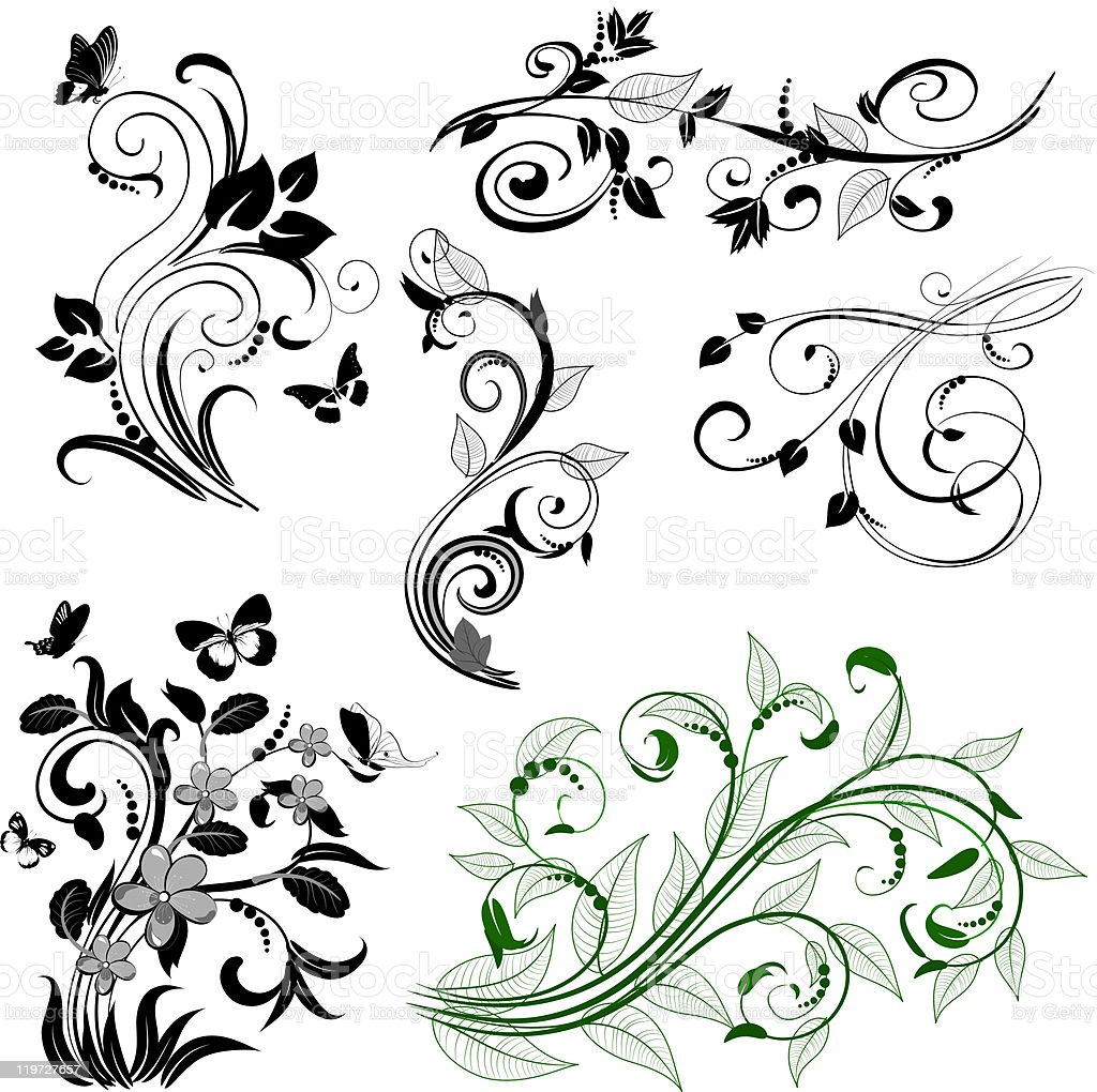 Floral abstract patterns royalty-free stock vector art