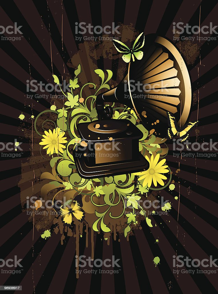 Floral abstract with gramophone royalty-free floral abstract with gramophone stock vector art & more images of abstract
