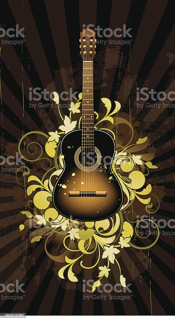 Floral abstract with guitar vector art illustration
