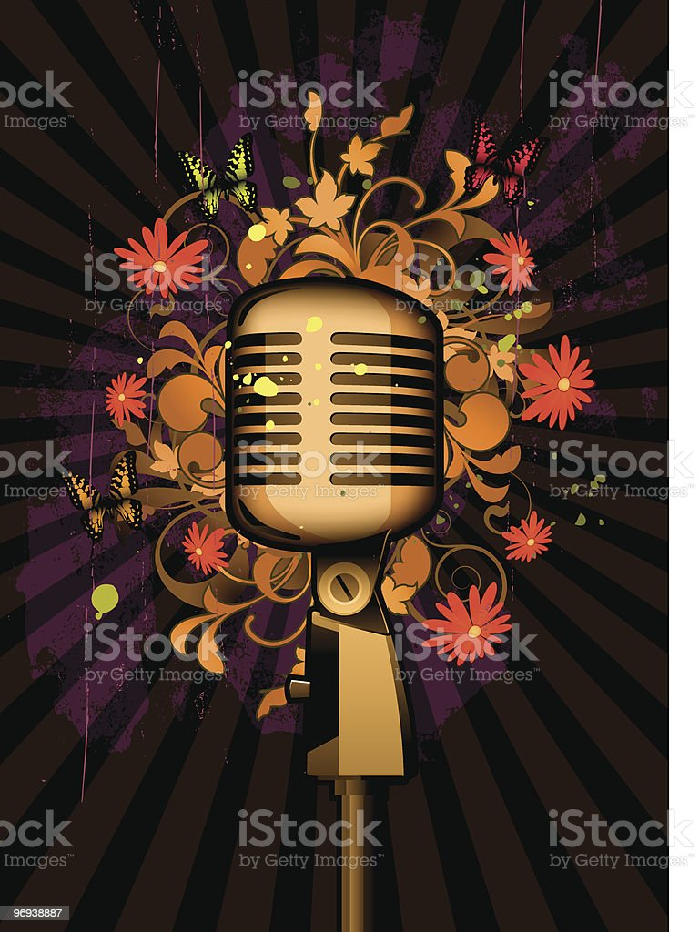 Floral abstract with microphone and butterflies royalty-free floral abstract with microphone and butterflies stock vector art & more images of abstract