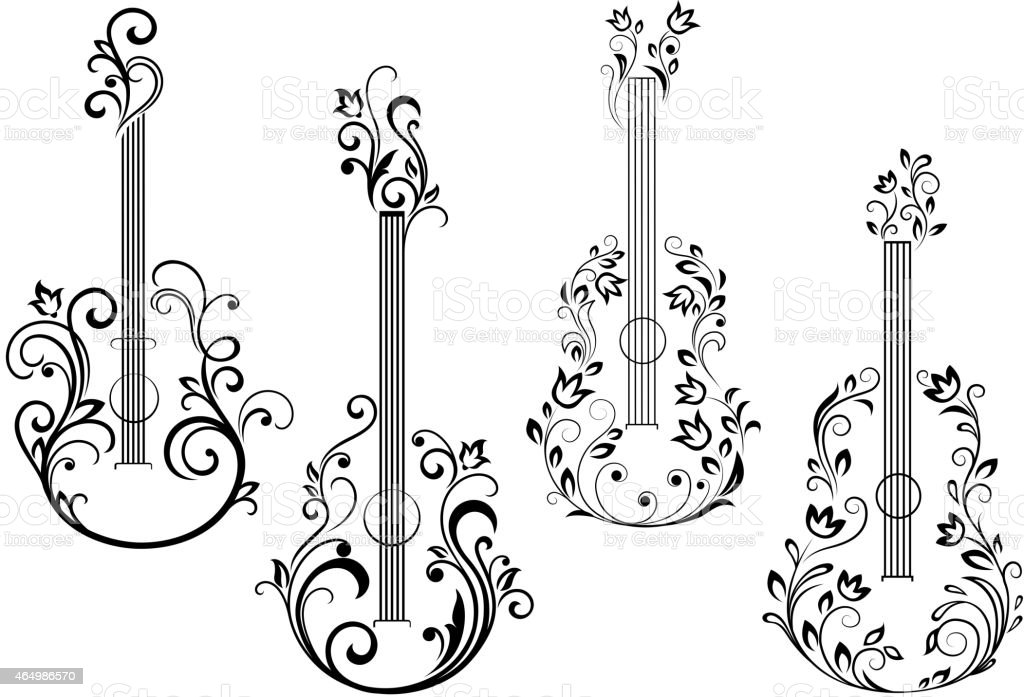 Top 60 Silhouette Of The Acoustic Guitar Tattoo Designs Clip Art