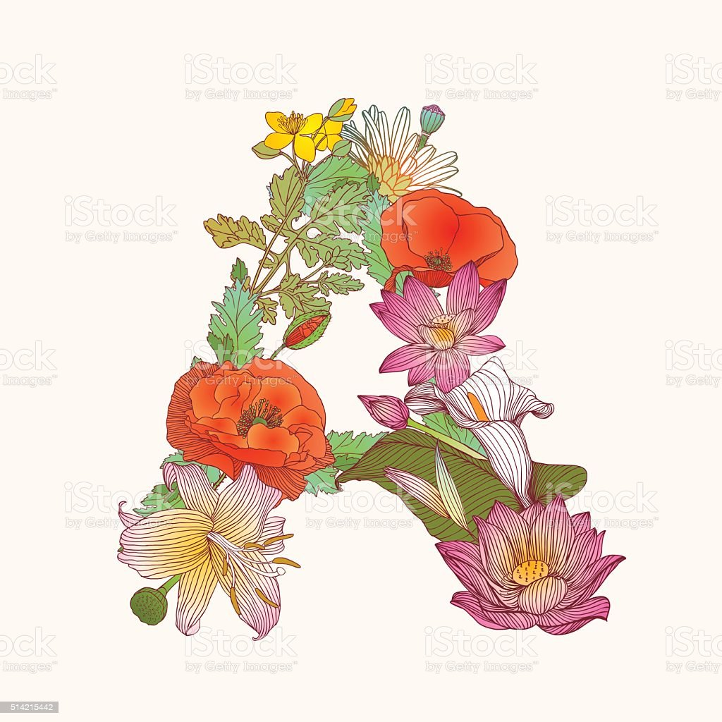Floral Alphabet Letter A Stock Illustration