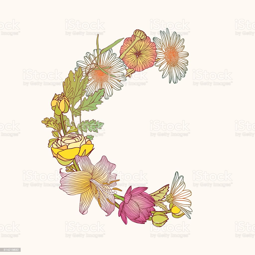 Floral Alphabet Letter C Stock Illustration