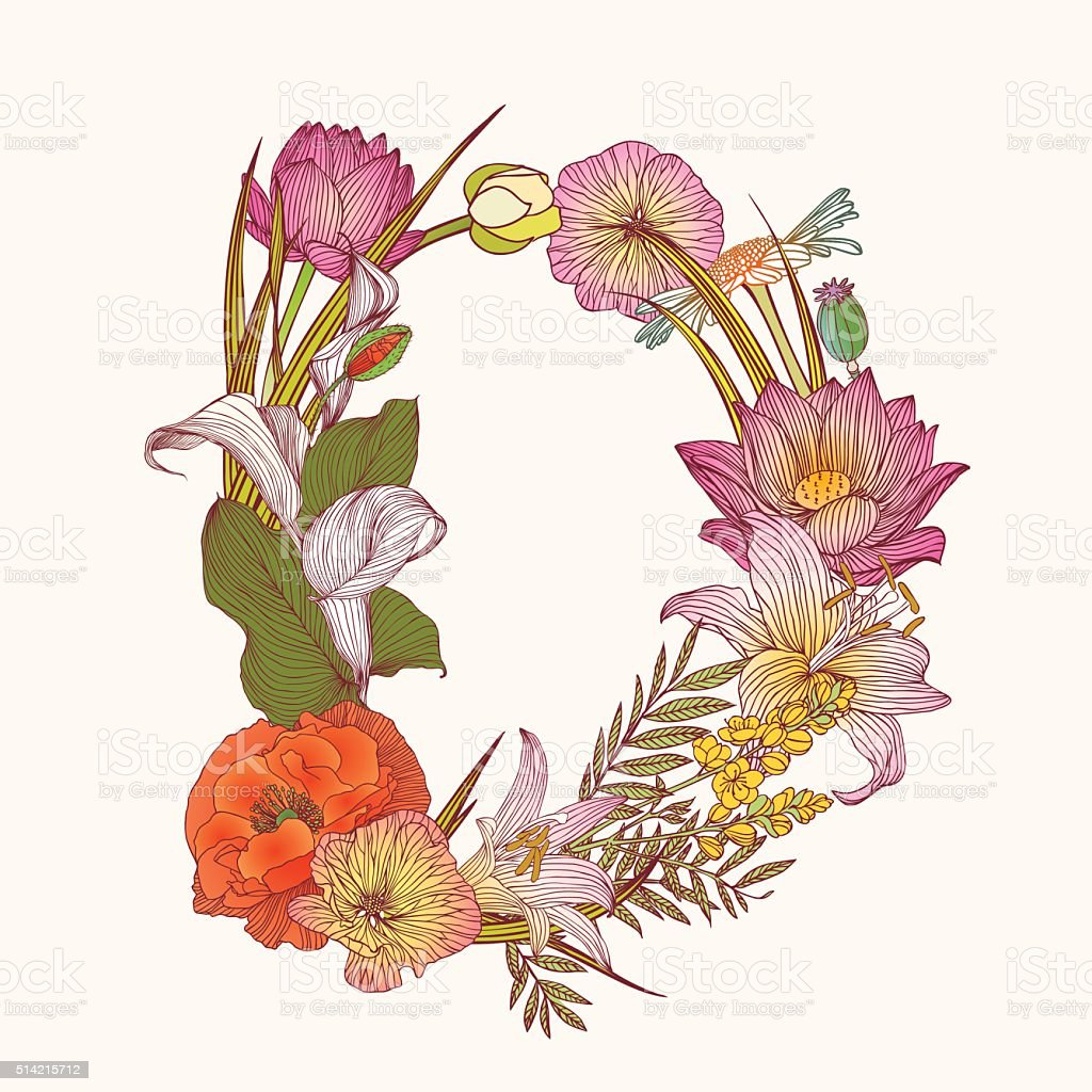 Floral Alphabet Letter D Stock Illustration