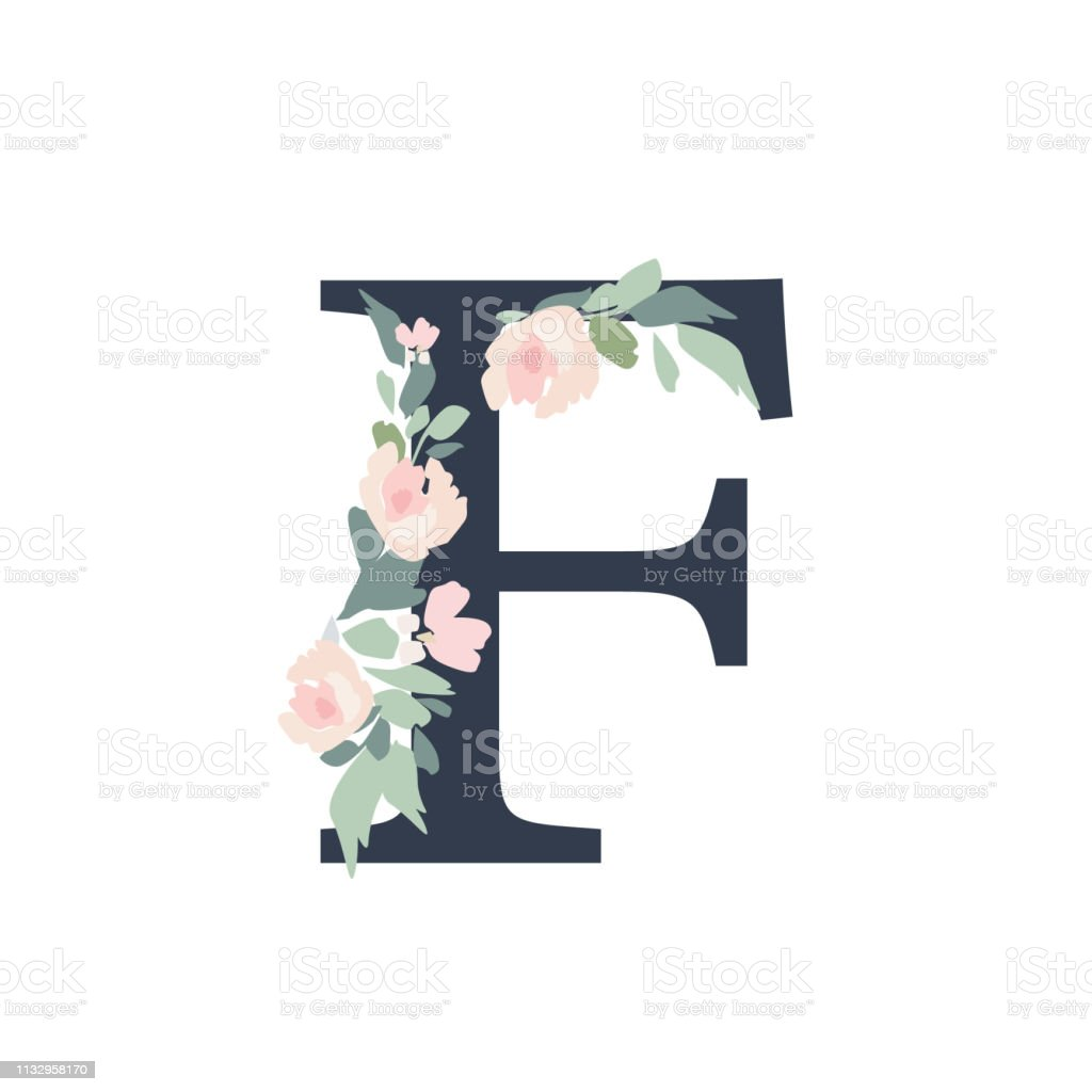 Floral Alphabet Letter F With Flowers Bouquet Composition Stock Illustration Download Image Now Istock