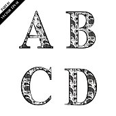 Alphabet Letter, Sign, Typescript, Floral, Lace