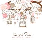 Floral and Birdcage Illustration
