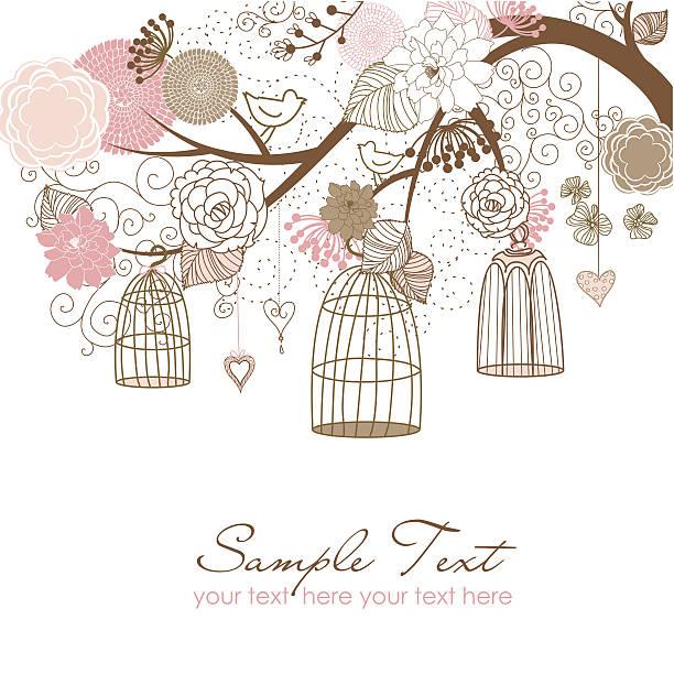 Floral and Birdcage Illustration vector art illustration