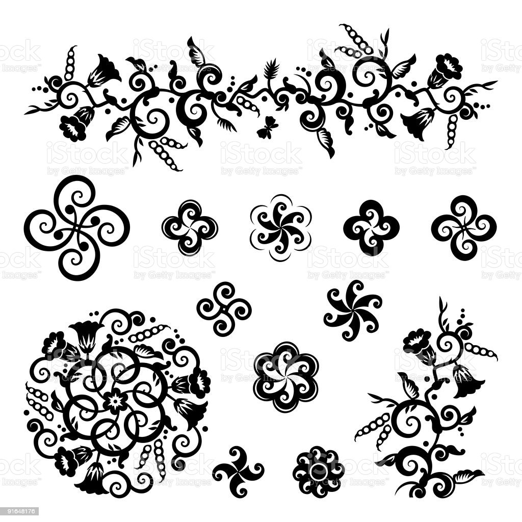 Floral and geometric pattern design elements royalty-free stock vector art