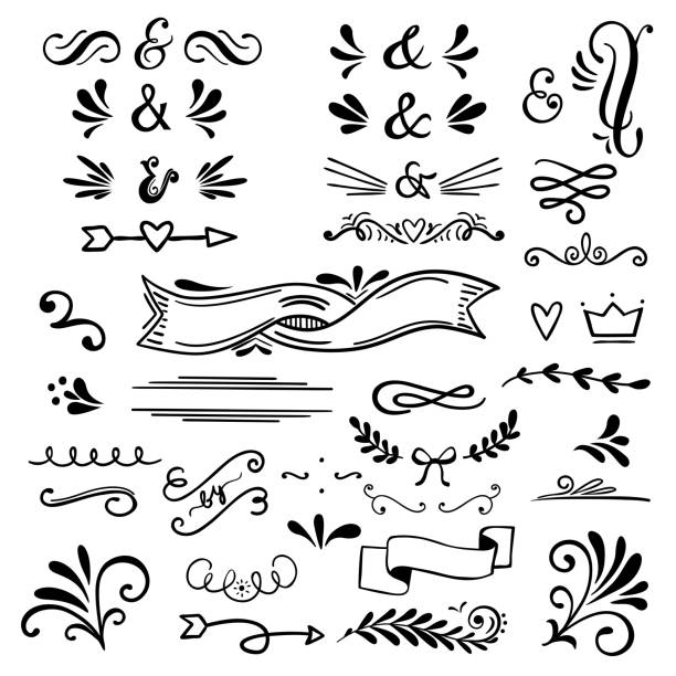 Floral and graphic  design elements with ampersands.Vector set of text dividers for lettering. Floral and graphic  design elements with ampersands.Vector set of text dividers for lettering.Doodles border,arrow and decorative hearts. christmas ornament stock illustrations