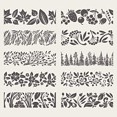 Ornamental hand-drawn borders with flowers, branches, trees and leaves. Horizontal seamless elements.