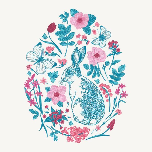 Floral animal oval composition. vector art illustration