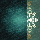 Floral arabesque background in green and gold