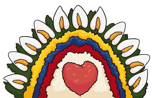 Floral arrangement decorated with Colombian colors, heart and foliage