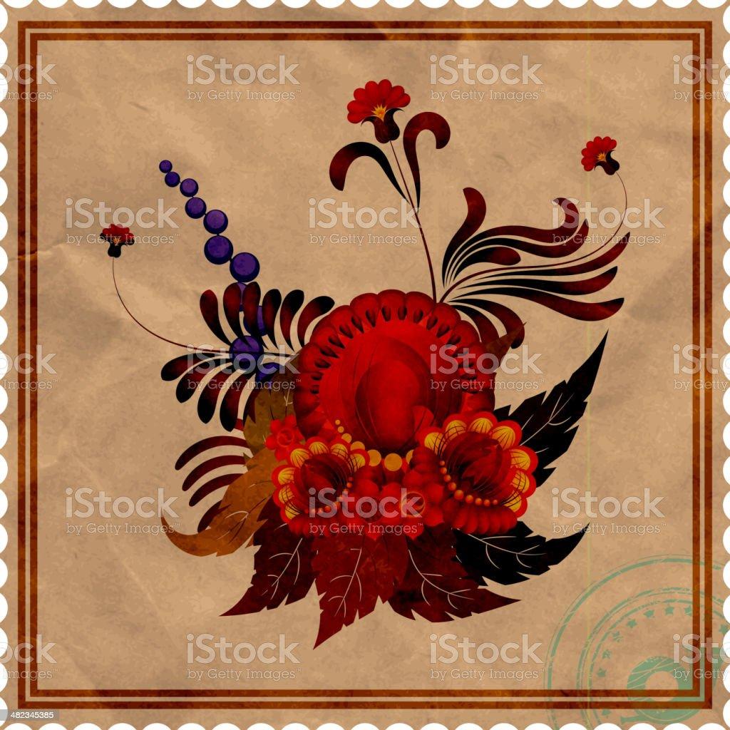 Floral arrangement on background of the old stamp. eps10 vector art illustration