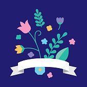 Vector illustration of a floral arrangement with ribbon against a dark blue background in flat style.