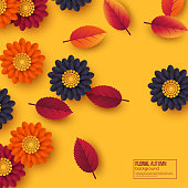 Floral autumn background with 3d paper cut style flowers and leaves. Yellow, orange, purple colors. Vector illustration.