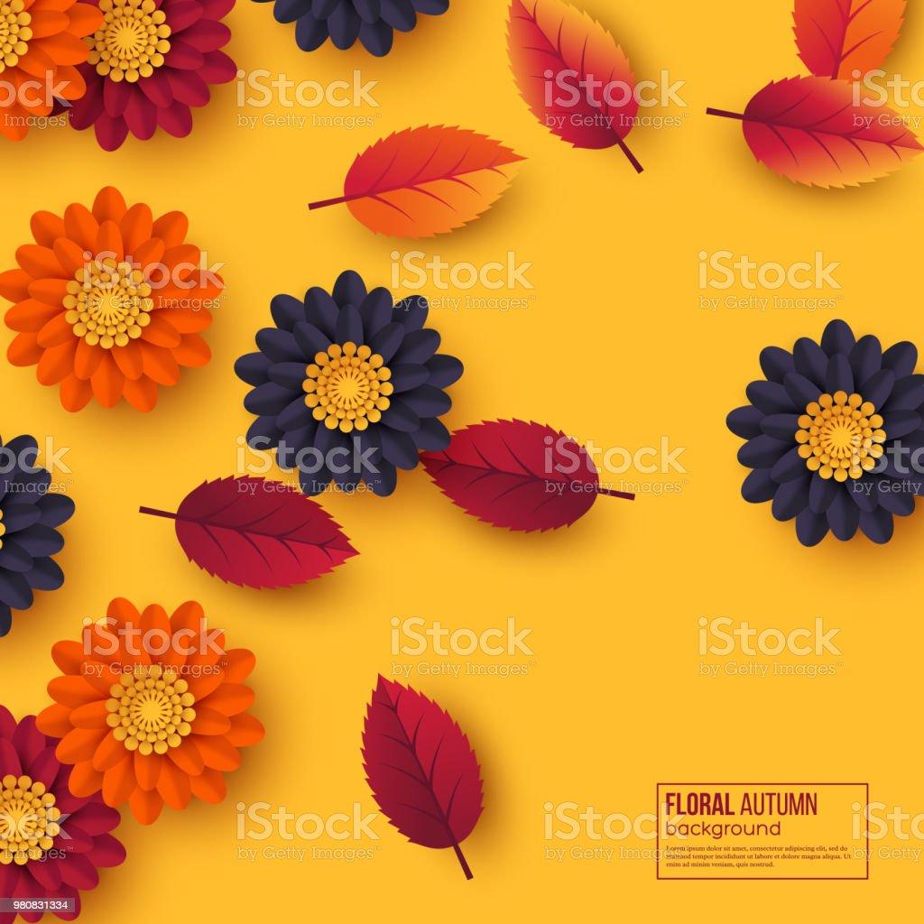 3d kağıt kesim tarzı çiçek ve yaprakları çiçek sonbahar arka plan. Sarı, turuncu, mor renkler, vektör çizim. vektör sanat illüstrasyonu