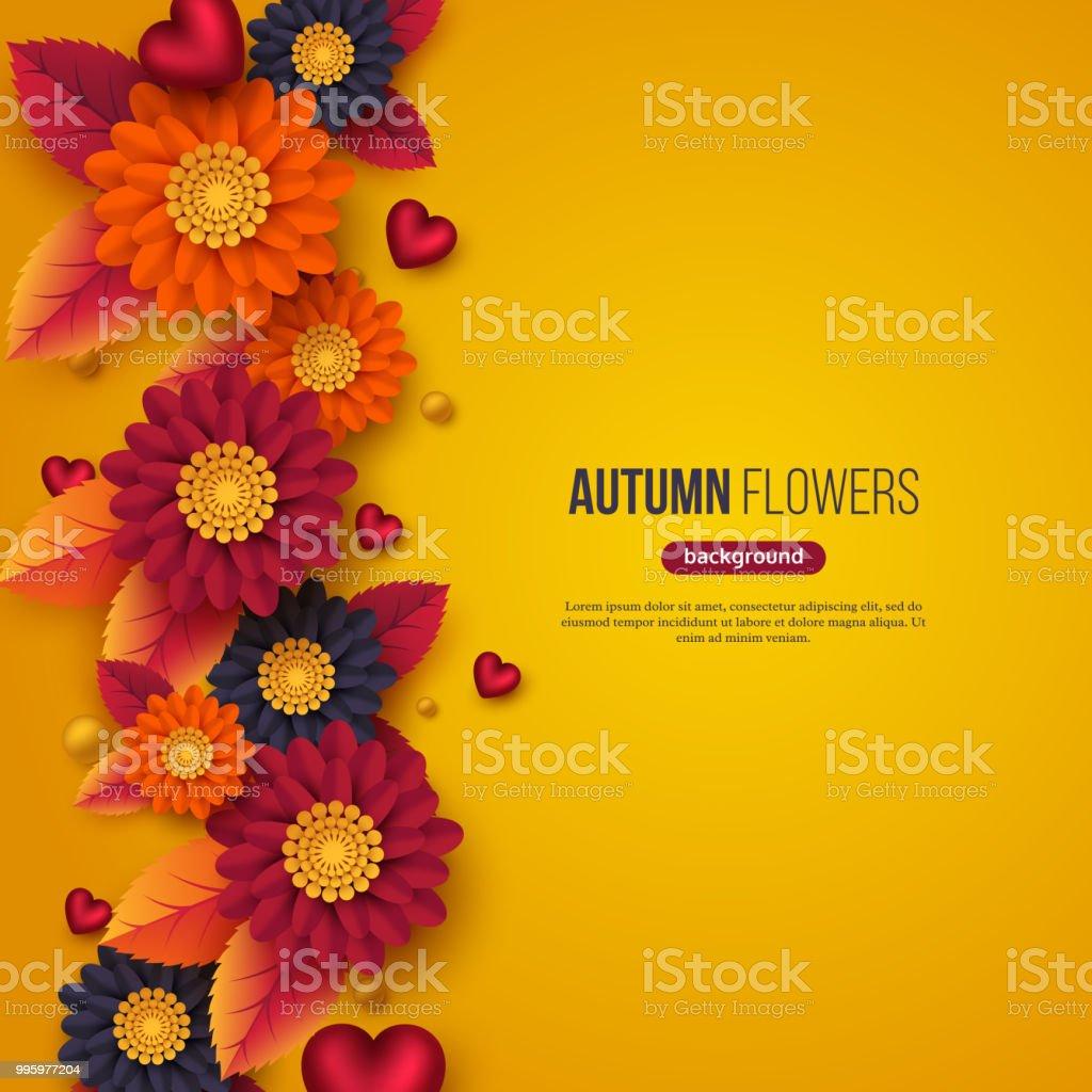 3d kağıt ile çiçek sonbahar arka plan stili çiçek, yaprak ve dekoratif kalpler kesti. Sarı, turuncu, mor renkler, vektör çizim. vektör sanat illüstrasyonu