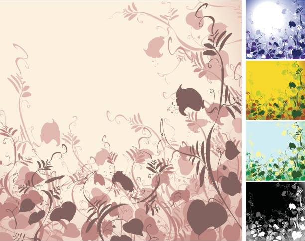 Floral Background -  5 Colour Versions vector art illustration