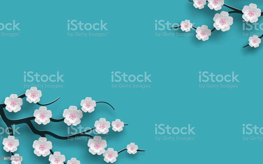 Floral background decorated blooming cherry flowers branch, bright blue backdrop for spring time season design. Banner, poster, flyer with place for your text. Paper cut out style, vector