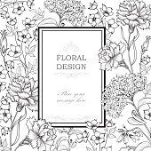 Floral background. Flourish greeting card.