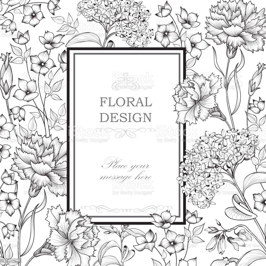 Floral background. Flourish greeting card. vector art illustration