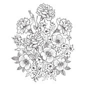 Floral background. Flower bouquet greeting card.
