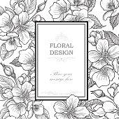 Floral background. Flower bouquet vintage greeting card.
