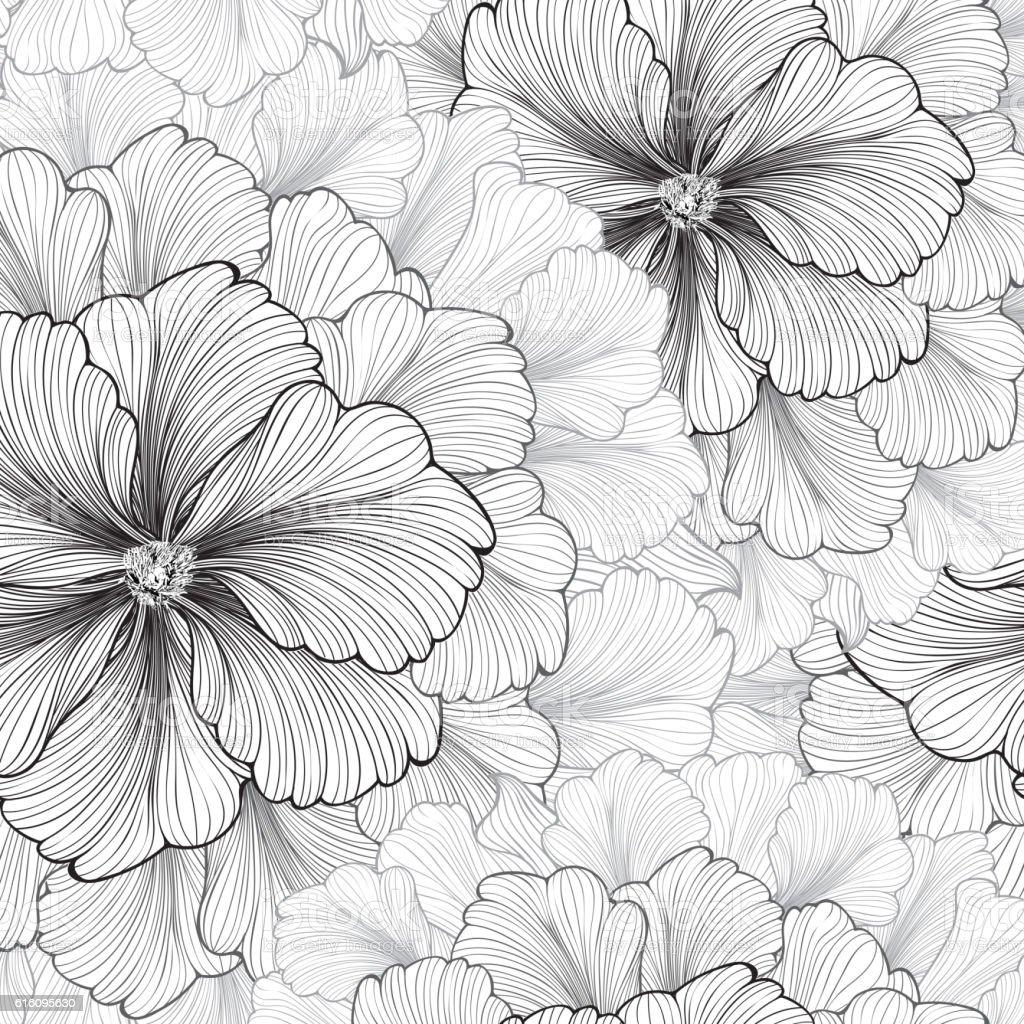 Floral background. Flower pattern. Flourish seamless texture vector art illustration