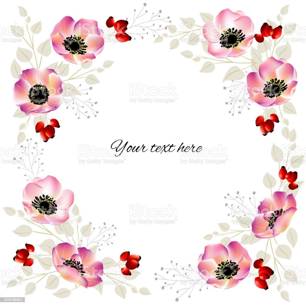 Floral Background Flowers Briar Frame Rosehip Berries Wreath