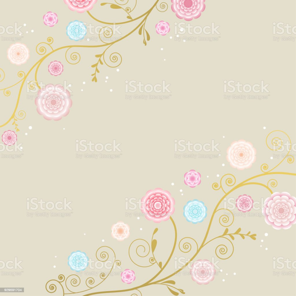 daf2ff2670d Floral background. Flowers. Drawing. Border. Curls. Gold. Pattern.  Ornament. Branch. Curling plant. Vector. Card. Congratulation. -  Illustration .