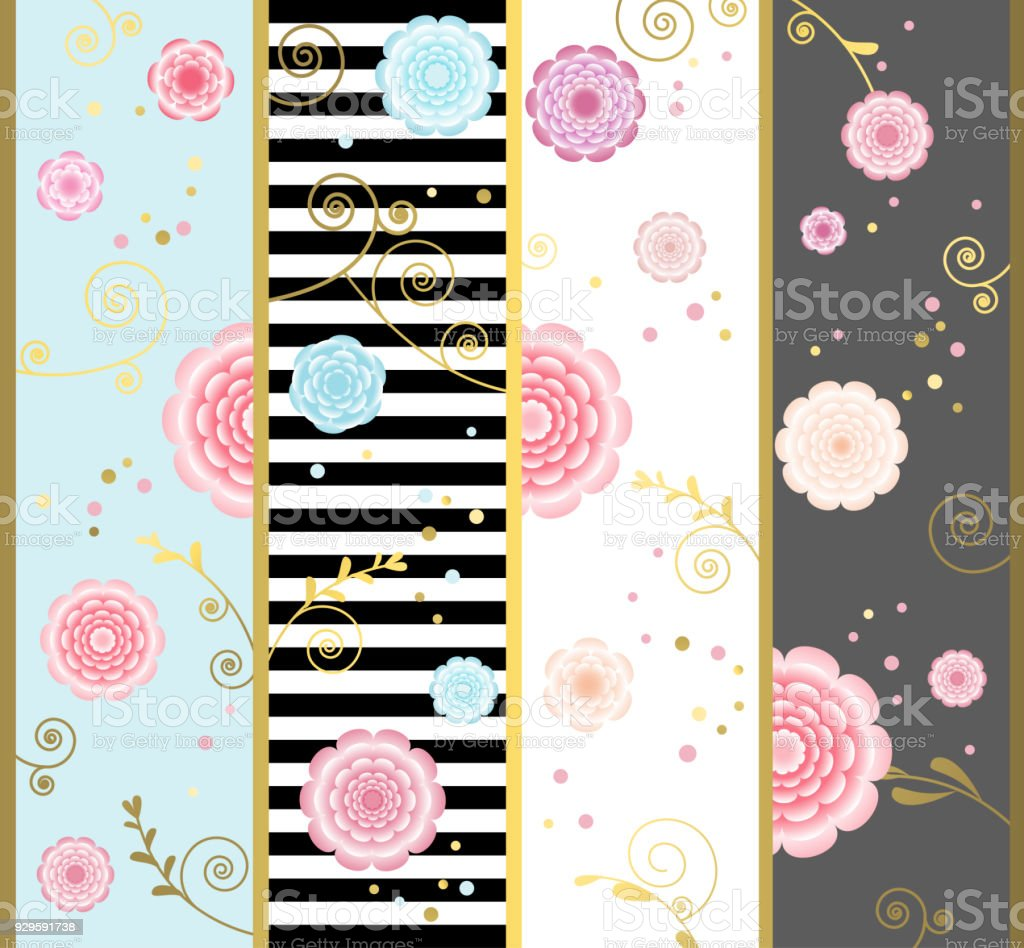 abc0910a1b9 Floral background. Flowers. Drawing. Border. Set of cards. Curls. Vertical  pattern. Gold. Striped. - Illustration .