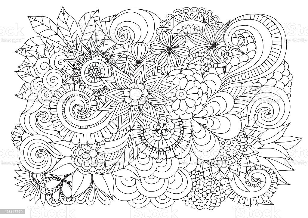 Floral background for coloring page vector art illustration