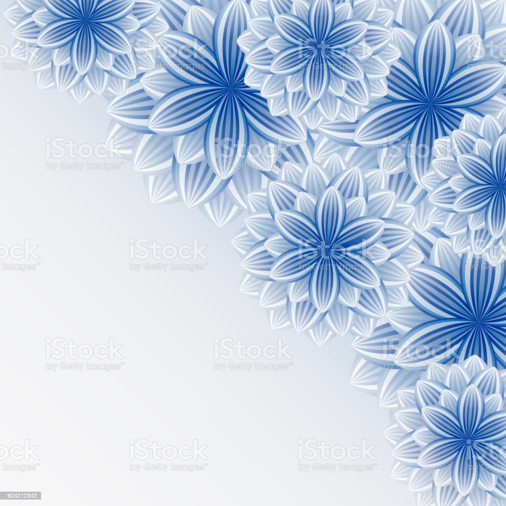 floral background greeting card 3d flowers sakura stock vector art