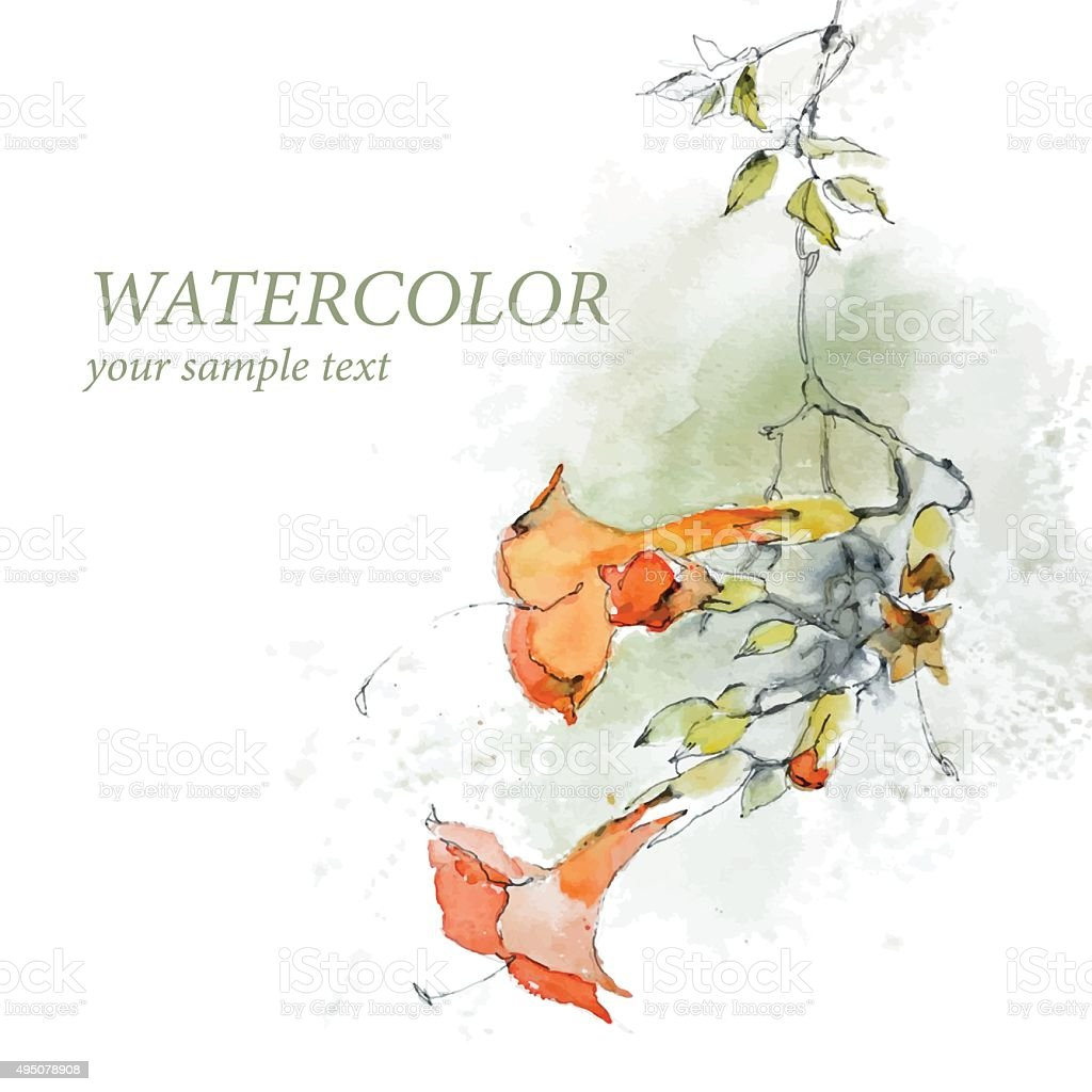 Floral background in watercolor style vector vector art illustration