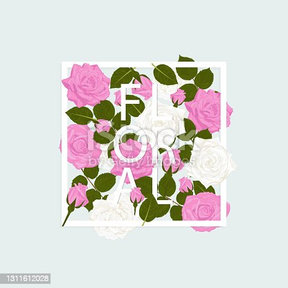 istock Floral background isolated frame in rose flowers leaves with text, on blue background. 1311612028