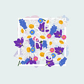 istock Floral background, isolated frame in spring flowers on blue background. Vector illustration. 1307768259