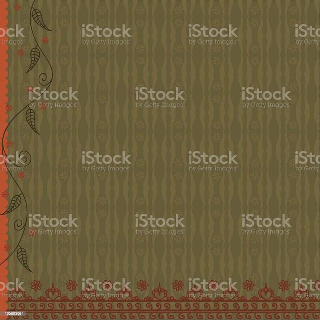 Floral Background Orange and Green vector art illustration