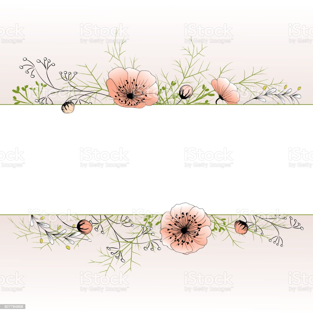 Floral Background Pink Flowers Frame Card Buds Leaves Stock Vector