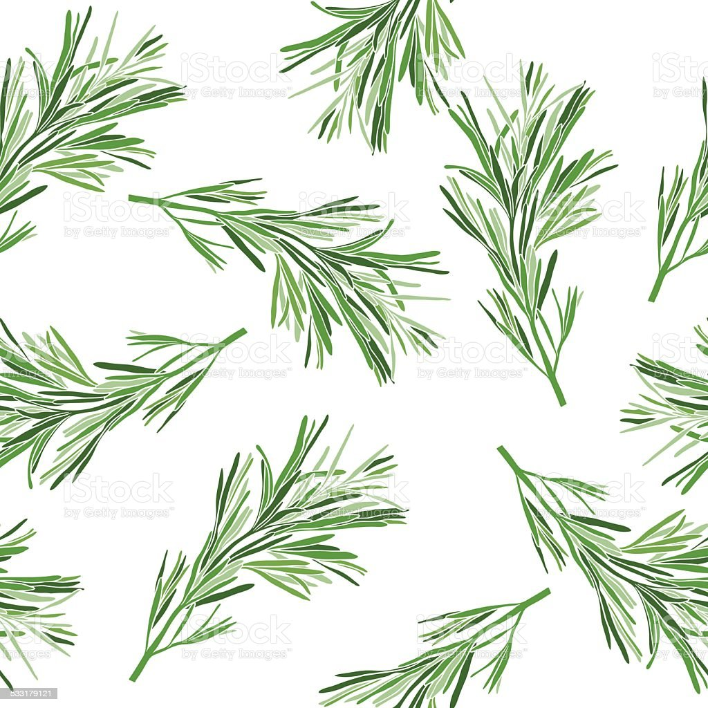 Floral background. Seamless pattern with rosemary. vector art illustration