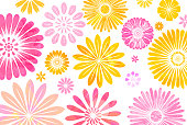 Colorful flower background - layered illustration, global color used.
