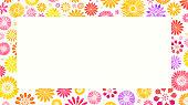 Colorful flower background - layered illustration, global color used. Border.