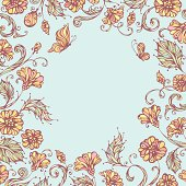 Pastel ornate floral pattern with butterflies for your design. There is blank round space for your text in the center. EPS 8.