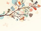 Ornate backgrouns with flowers, butterflies and birds for your design. EPS 8.