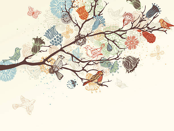 floral background - birds stock illustrations