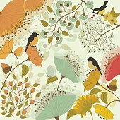 Floral colorful background with birds and butterflies