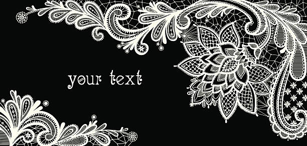 Floral background.  Black and white lace vector design. lace textile stock illustrations