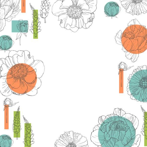 stockillustraties, clipart, cartoons en iconen met florale achtergrond.  vector schets illustratie. - meeldraad