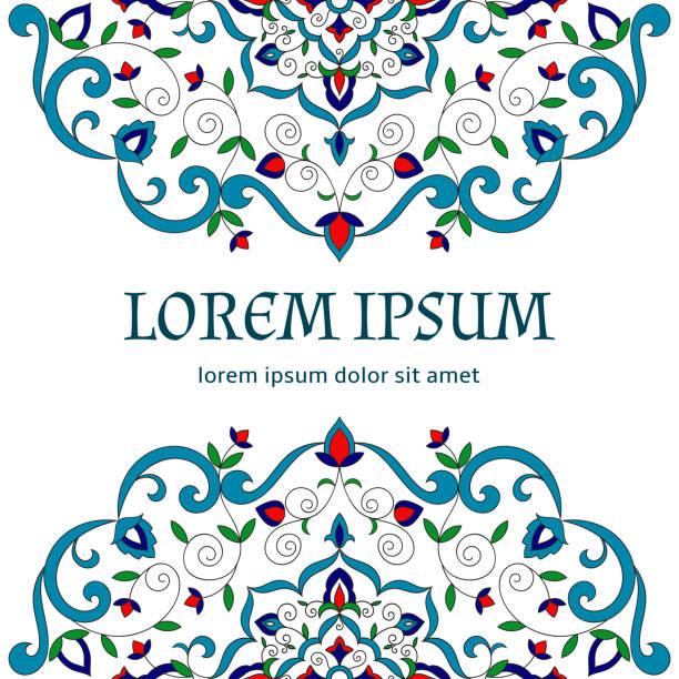 stockillustraties, clipart, cartoons en iconen met florale achtergrond vector sjabloon - turkse cultuur